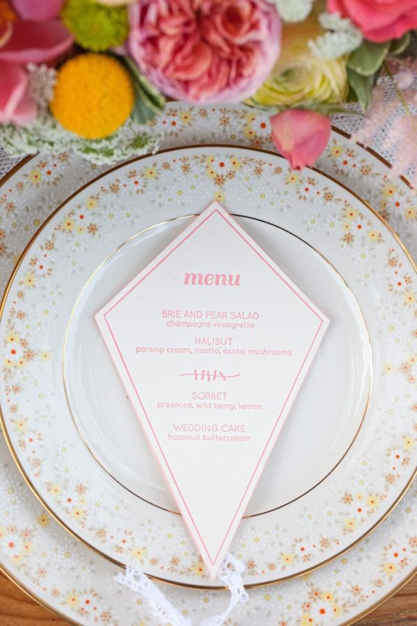 Menu card- in a kite cut out shape.  Perfect for a Spring or Summertime party