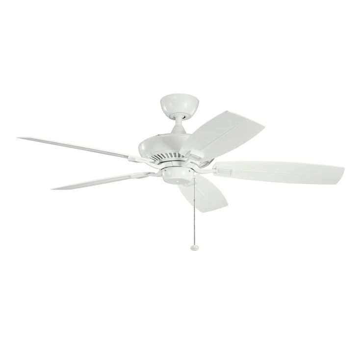 "Kichler 310192WH 52"" Outdoor Ceiling Fan with Blades Downrod and Pull Chain White with White/White Blades Fans Ceiling Fans Outdoor Ceiling Fans"