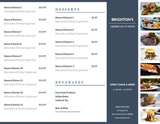 23 best Free Brochure Templates images on Pinterest Brochures - a la carte menu template