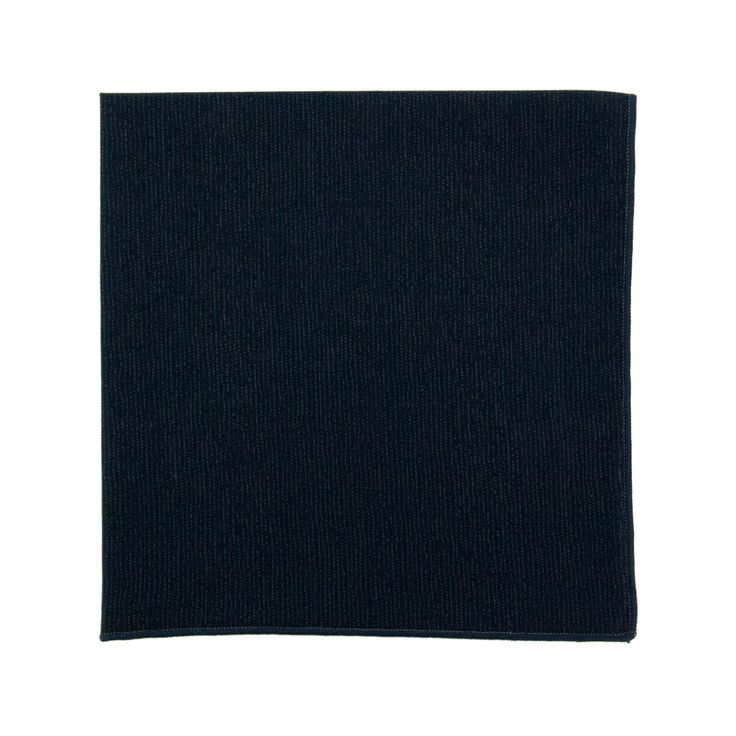 Pochette de costume Japonais Bleu Marine Fine Rayures Navy Blue Stripe Japanese Pocket Square Le colonel moutarde, hand made in France