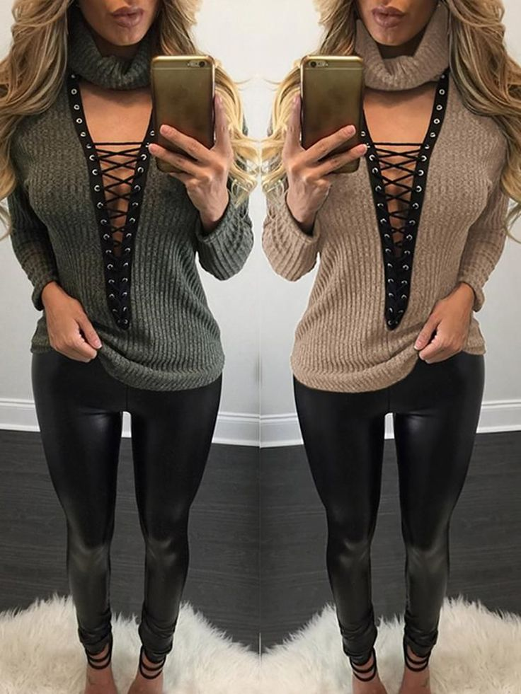 Sexy Lace Up Knit Turtleneck Sweater