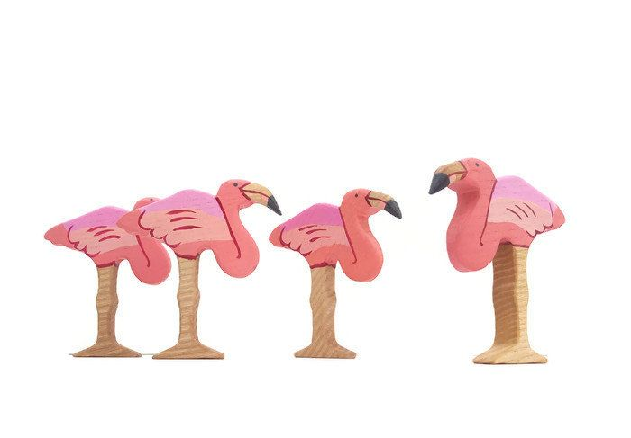 Wooden flamingo toy Birds toys Wooden Bird toy Pretend play Bird toy figurine Learning toys for toddlers by WoodenCaterpillar on Etsy