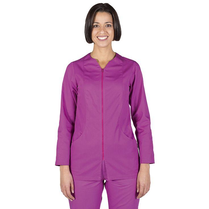 6236 blusa mujer con cremallera y manga larga en color malva