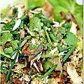 Kaï ping - poulet grillé à la pâte de coriandre (recette thaïe) - Chez bergeou5 cuisses de poulet entières (avec le haut de cuisse)pâte de coriandre maisonsauce d'huître (thaïe)sucre en poudreglutamatenuoc mamcoriandre fraichesaladepiment