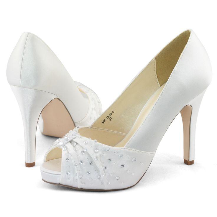 Details about Womens white satin beads wedding dress peep toe ...