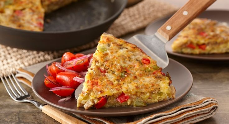 Sausage Frittata. A flat, Italian omelet made with a variety of fillings. This one has crumbled sausage and is bursting with basil and mozzarella cheese