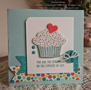 Stampin' & Scrappin' with Stasia 2015-16 Stampin' Up! catalog Sprinkles of Life, Cherry on Top Designer Series Paper, Triple Banner Punch, Tree Builder Punch