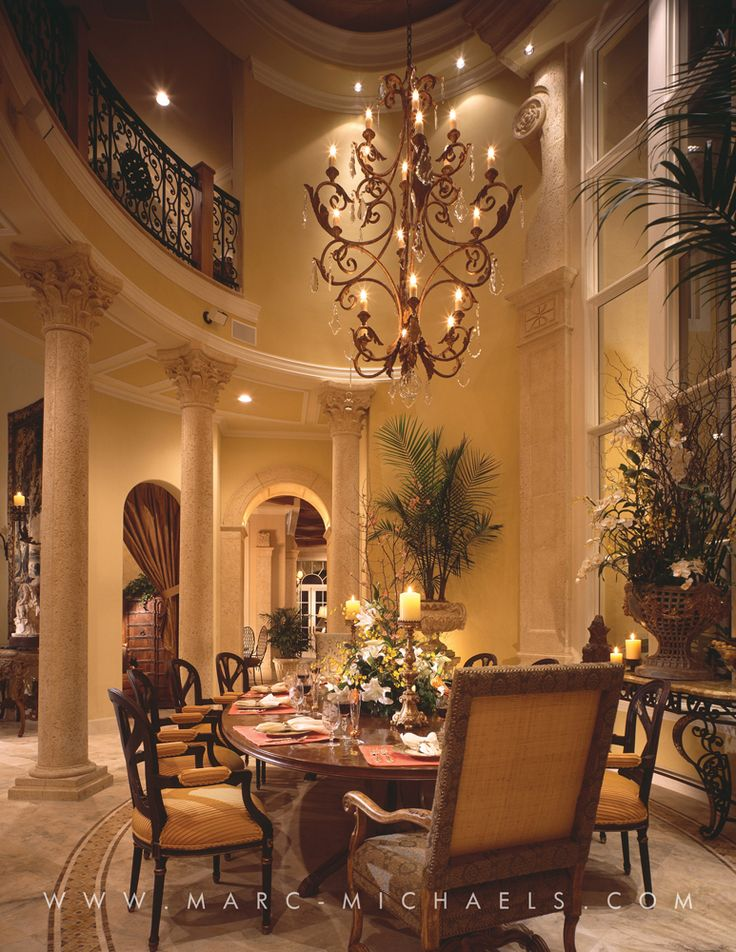 Classic Mediterranean dining room, chandelier, high ceilings, Jupiter, FL