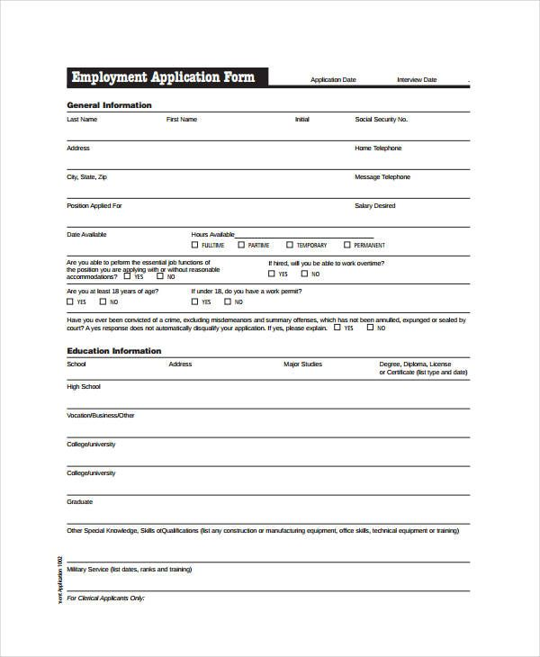 free employment application pdf template pinterest sample