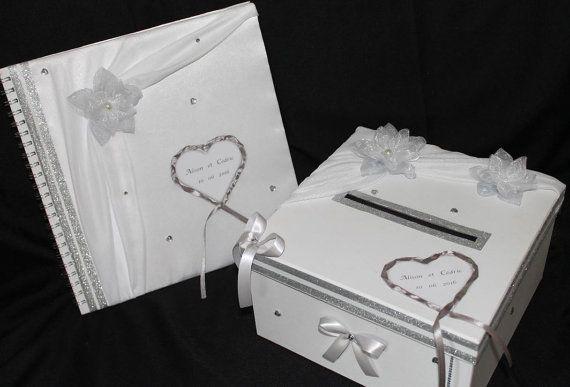 Urne Livre d'or STRASS mariage blanc et par CrystalCrea sur Etsy