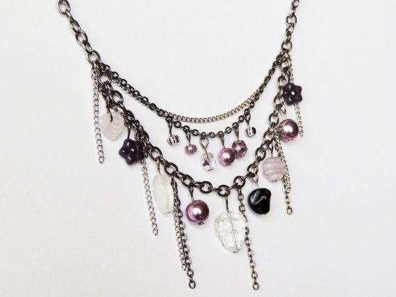 Purple mix necklace by CathsCraftCreations on Etsy, $16.00. Handmade beaded necklace