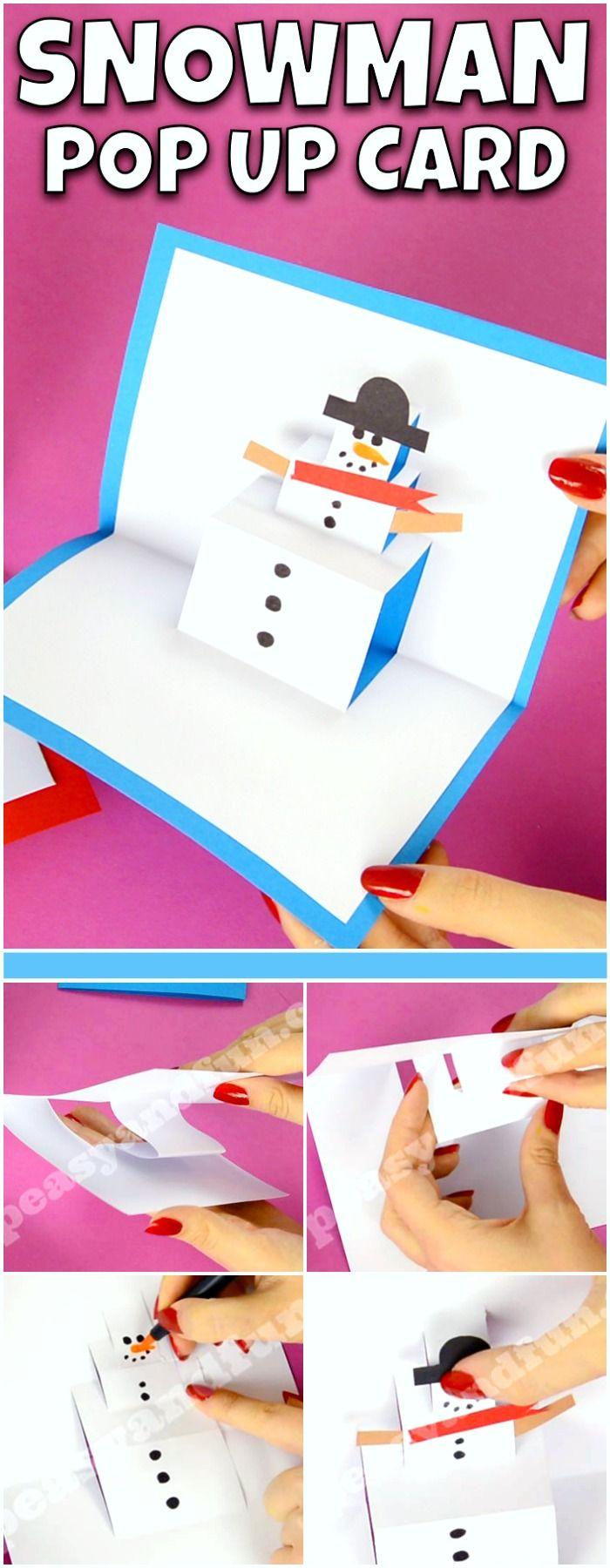 Cute DIY Snowman Pop Up Card. Fun DIY Christmas craft idea for kids to make.
