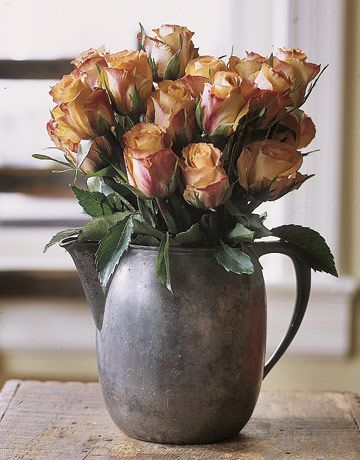 Pewter pitcher and flowers #countryliving #dreambedroom