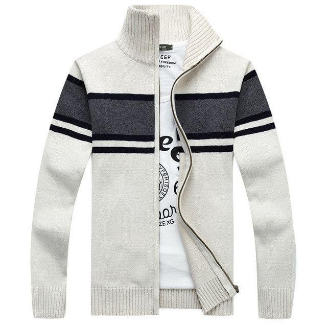 New Mens Cardigan Sweater Brand Clothing Men Zipper Sweaters Male Cardigan Striped Stand Collar Knitted Sueter Hombre Oversized