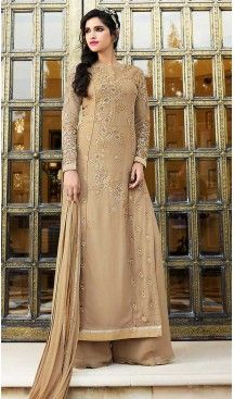 Tan Brown Color Georgette Straight Cut Style Party Salwar Kameez | FH508177408 #heenastyle , #boutique , #pakistani, #salwar , #kameez , #suit , #dresses , #styles , #fashion , #clothing , #henna , #designs , #mehndi , #more , @heenastyle , #party , #online , #abaya