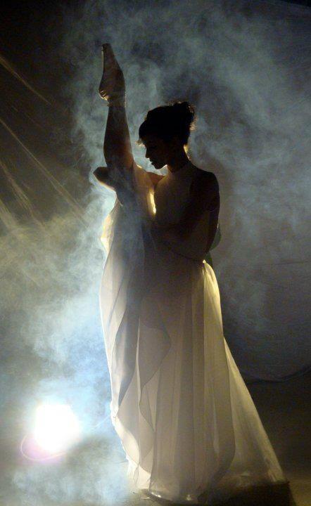 ballerina in partial silhouette