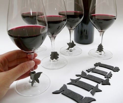 leather wineglass markers! could use felt? or?