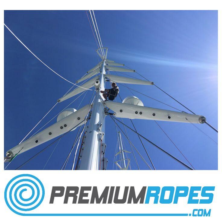 In the mast rigging ropes #yacht #rigging #splicing #stirotex #fid #rigger #riggingservices #fitting #premiumropes #premium #dyneema #ropes #yachtrigging #rigger #international #megayacht #sailingyacht #sailing #superyacht #perininavi #vela #greement #bateau #mastclimbing #running #rigging