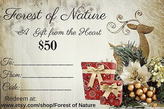 Digital Gift Certificate - 50 Gifts - Gifts for Her - Gifts for Him - Gifts for Boss - Xmas gift - e-gifts - gift cards - Gift for family