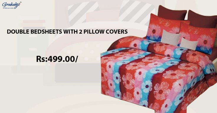 Buy Single and Double Bed Sheets Online at Best Prices in India - Grahakji #Bedsheets #homedecor #online #clothing #home #decor #furnishing #grahakji