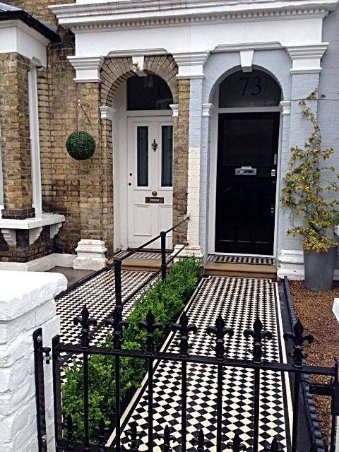 Victorian Mosaic tile Path York stone Bullnose Entrance Stone Wrought Iron Metal Rail & Gate Victorian Path Edge Border Tile Balham London (3)