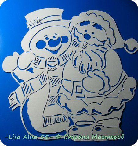 Картина панно рисунок Новый год Вырезание Снеговики Бумага фото 1