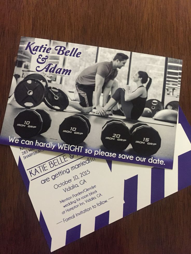 save the date, gym, fitness, wedding, weights
