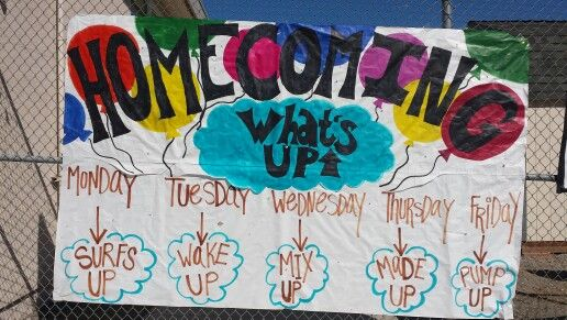 """What's Up"" Homecoming Week poster with dress up days"