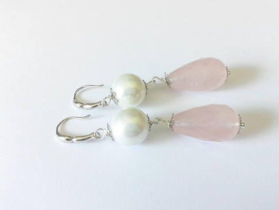 rose quartz earrings rose drop earrings handmade earrings