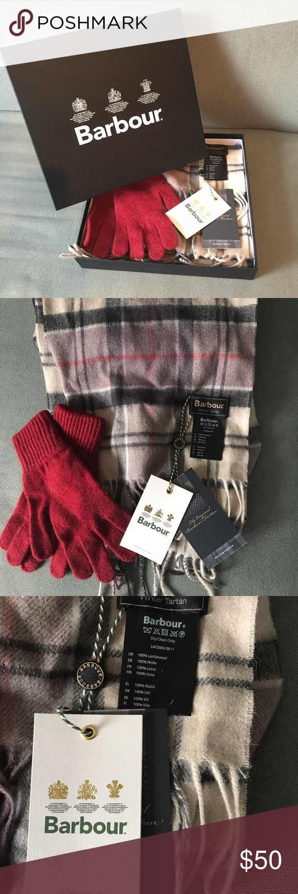Barbour Scarf and Glove Set NWT Barbour Ladies Lambswool Gift Set in Neutral Tan. Really soft and perfect for winter. Includes Barbour box! Barbour Accessories Scarves & Wraps