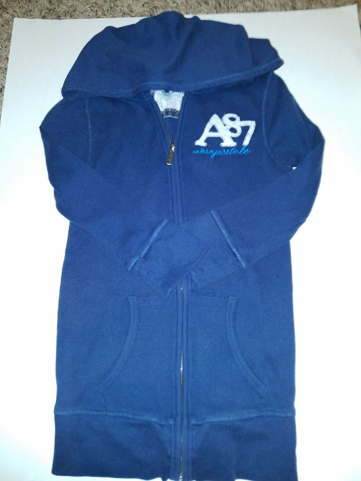 """AEREPOSTALE  ZIP UP  HOODIE 2 front pockets  Front zipper Hooded Long sleeve SIZE : Small PETITE Stretch  COLOR: Blue w/ the AEROPOSTALE  """"A87"""" Logo on left side of chest  Material :  57% Cotton                         42% Polyester                            1% Spandex    Preowned"""