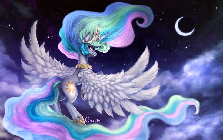 Celestia s night wallpaper size by cizu mlp - Princess luna screensaver ...