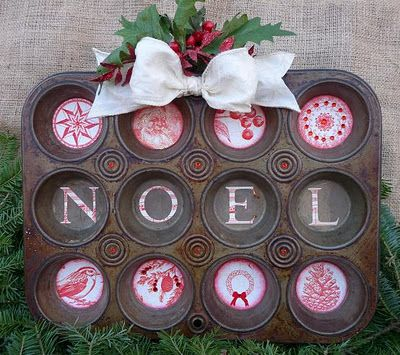 CREATE & SHOW: Holiday Muffin Tin - Delightful to hang in kitchen! See how she made it at createandshow.blogspot.com