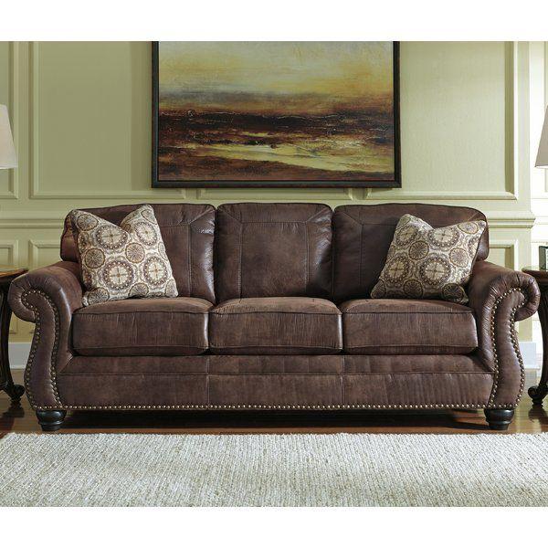 Conesville 90 Round Arm Sofa Faux Leather Sofa Ashley