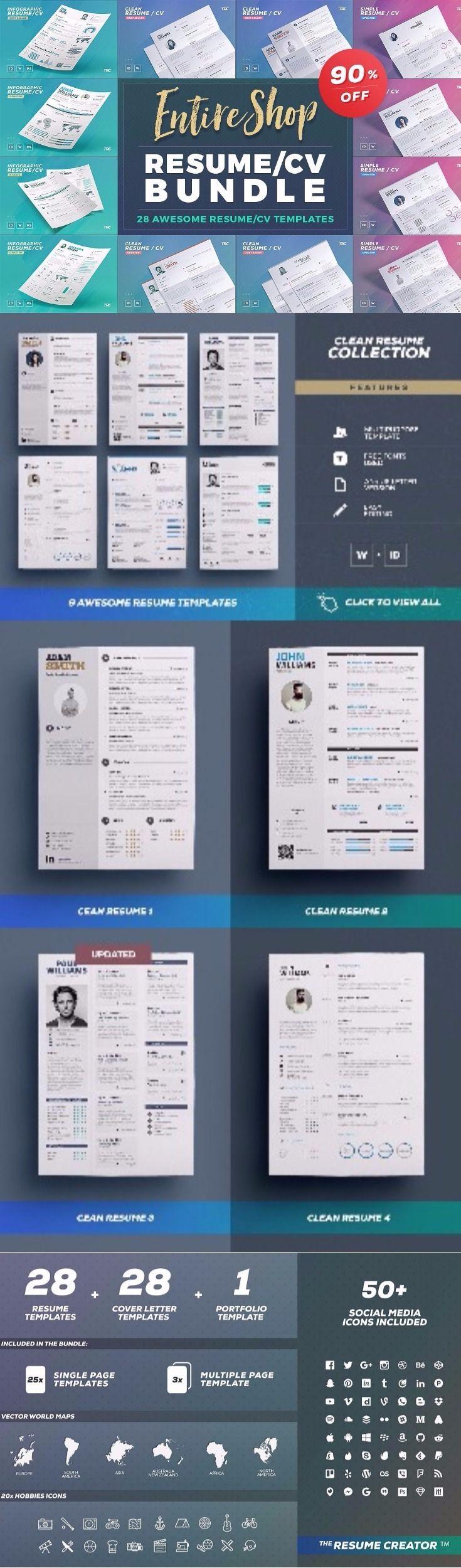 28 Awesome Resume CV Templates Bundle