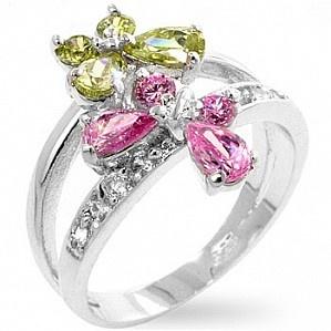 Inel din argint 925 placat cu rodiu, aspect de aur alb, cu fluturi din pietre galbene si roz de zirconiu.   Acest inel este potrivit pentru cocktail.    Culoare: Roz si Galben   Metal: Argint 925   Piatre: Cubic Zirconia   Greutate: 3.8 g  $128 Lei