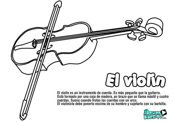 Dibujos De Instrumentos Musicales Para Imprimir Y Colorear: Pintas Instrumentos Musica VIOLIN, Recursos Educativos