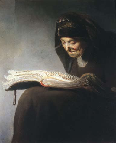 """Rembrandt's Mother Reading,"" by Rembrandt van Rijn, 1629."