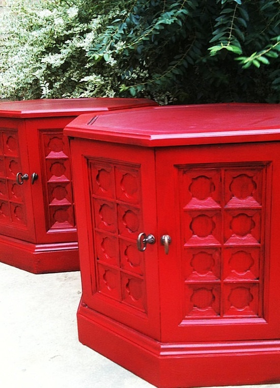 Octagon Vintage End Table | Of 2 60u0027s   70u0027s Red Vintage / Retro / Boho  Octagon Nightstands , End ... | Refurb | Pinterest | 60 S, Nightstands And  Boho