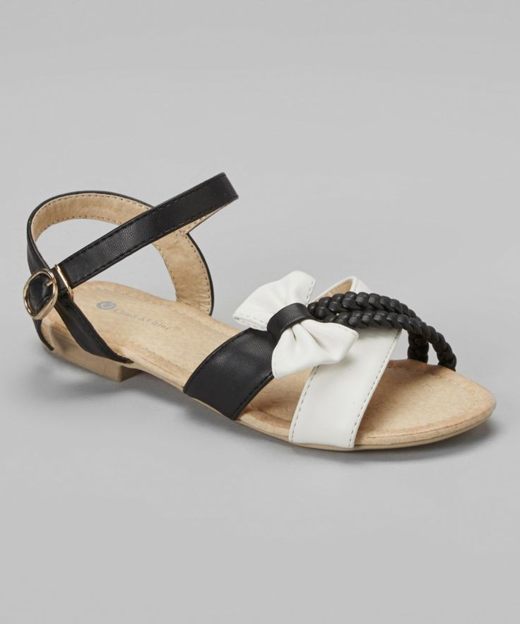Look at this Black & White Braided Strap Violet Sandal on #zulily today! 12.99