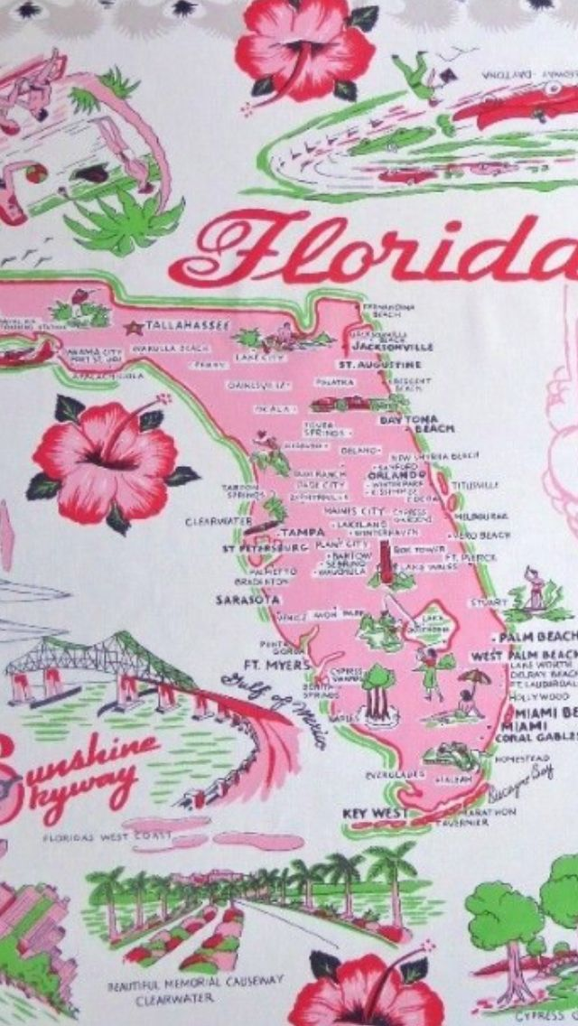 vintage florida map tablecloth