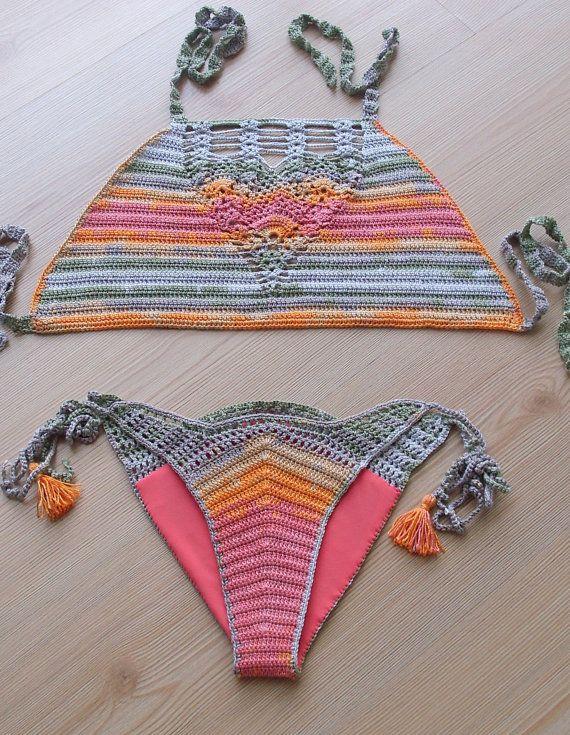 FREE SHIPPING Batik Color Crochet Bikini Set Women by formalhouse