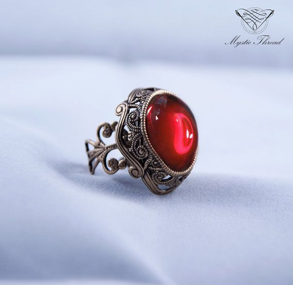 Ruby gem victorian ring-gothic ring-victorian ring-vintage ring-bronze ring-ruby gem ring-adjustable ring