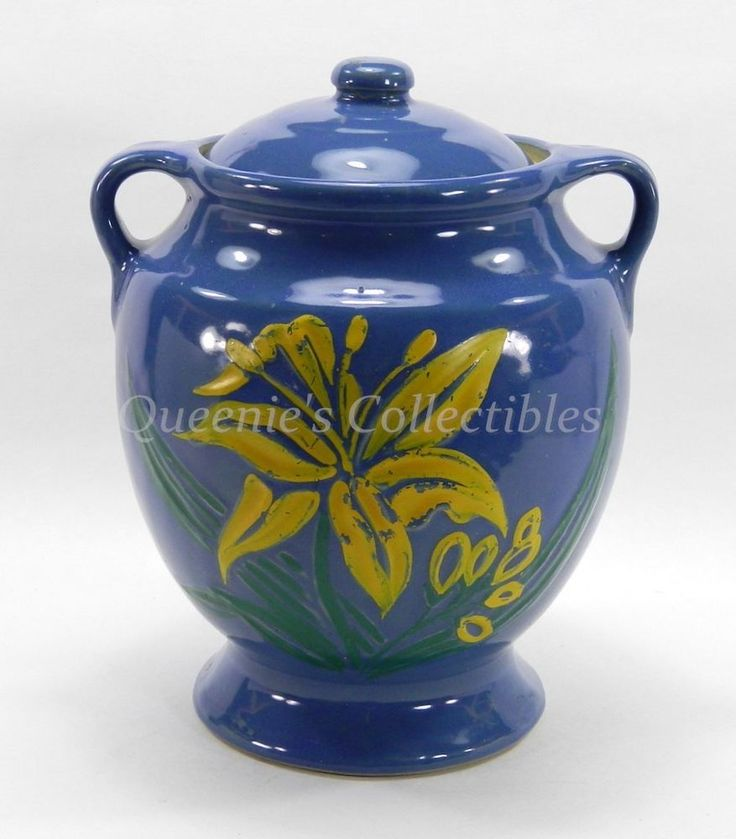Mccoy Cookie Jar Blue Yellow Day Lily Large Vintage Pottery Usa Mccoy Biscuit