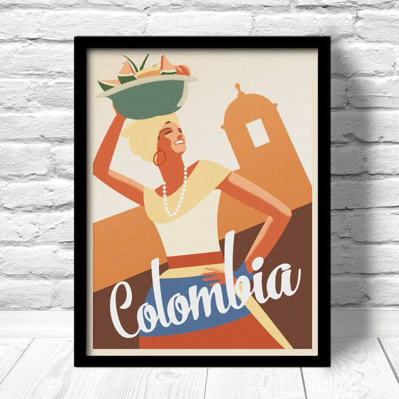 Colombia Poster Cartagena travel print by ConsiderGraphics on Etsy, $16.00
