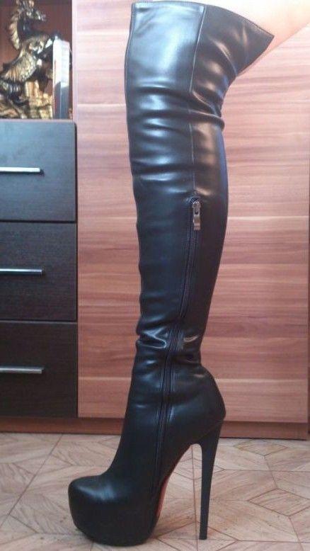 Thigh high plateau boots