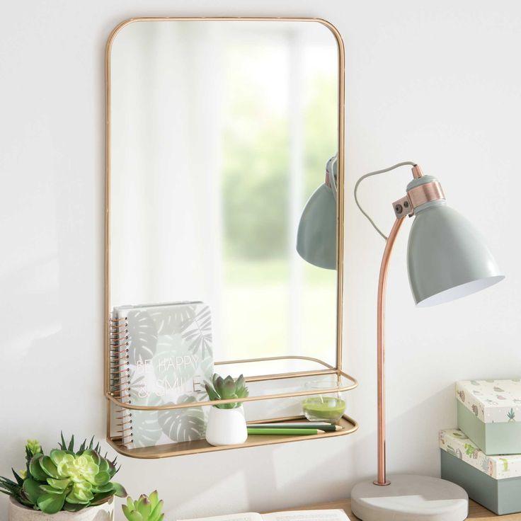 Miroir mural avec étagère en métal doré 35x57cm DURANGO