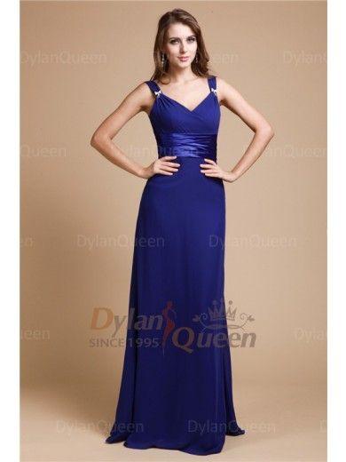 Hot Sell Sheath/Column V-neck Sleeveless Ruffles Floor-length Chiffon Bridesmaid Dresses
