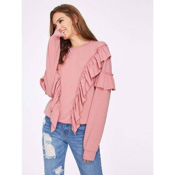 Symmetric Flounce Trim Sweatshirt ($18) ❤ liked on Polyvore featuring tops, hoodies, sweatshirts, pink, long sleeve tops, ruffle sweatshirt, polyester sweatshirt, long sleeve pullover and summer tops