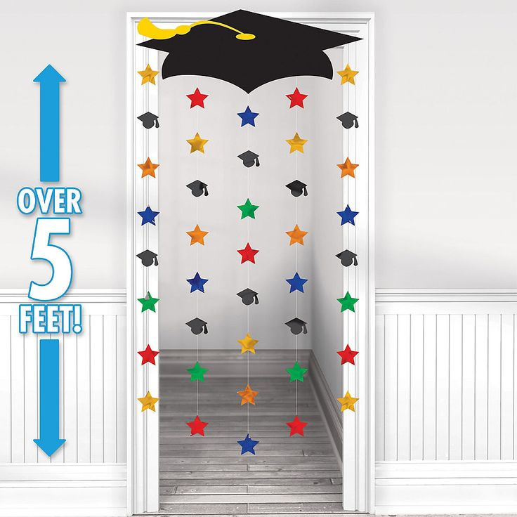 Grad Cap & Stars Graduation Door Curtain 39in x 66in
